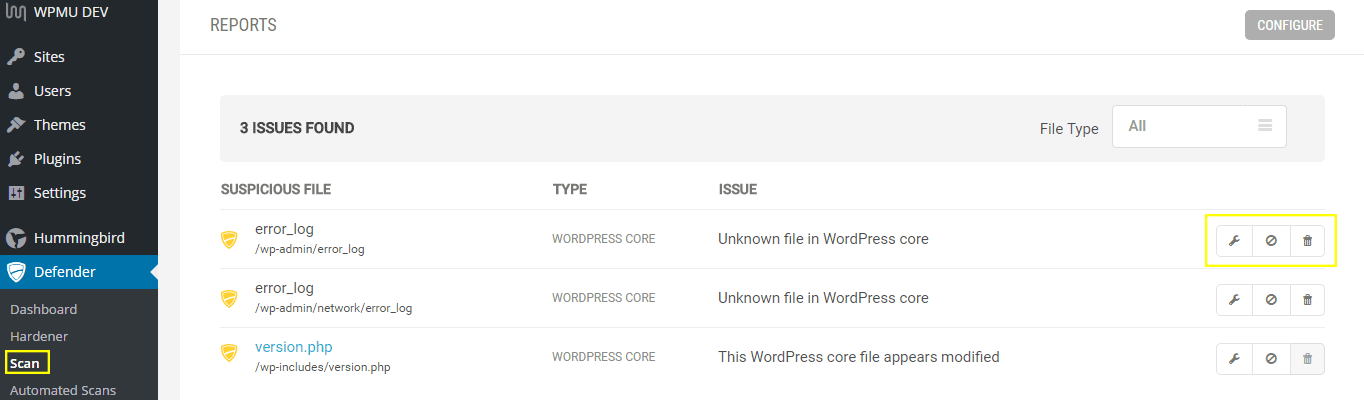 Three errors are reported on a site using Defender.