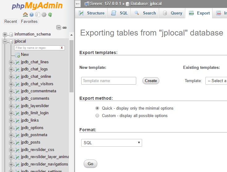 select a single database with phpMyAdmin