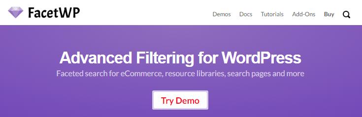 screenshot of facet wp website