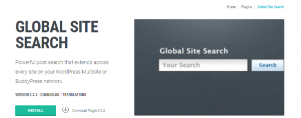 screenshot of global site search plugin page at wpmu dev