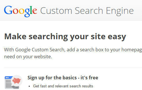 screenshot of google custom search engine page