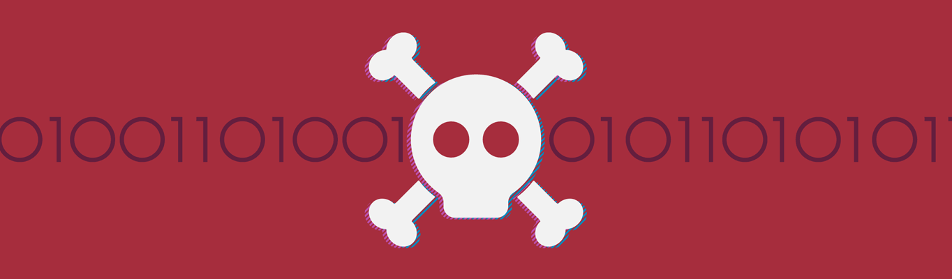 Illustration of a skull and cross bones and binary behind it.