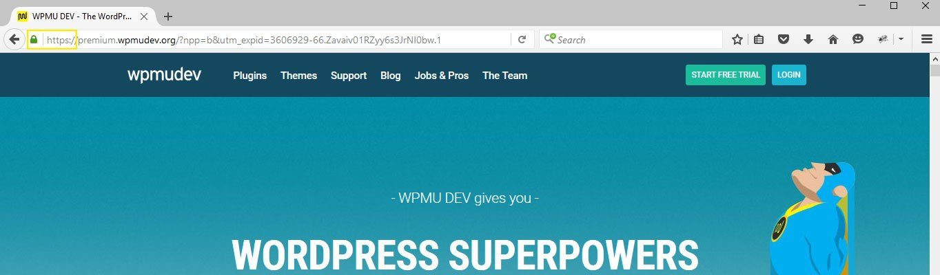 The WPMU DEV site loaded in the Firefox browser.