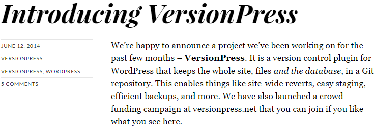 screenshot of blog post introducing versionpress