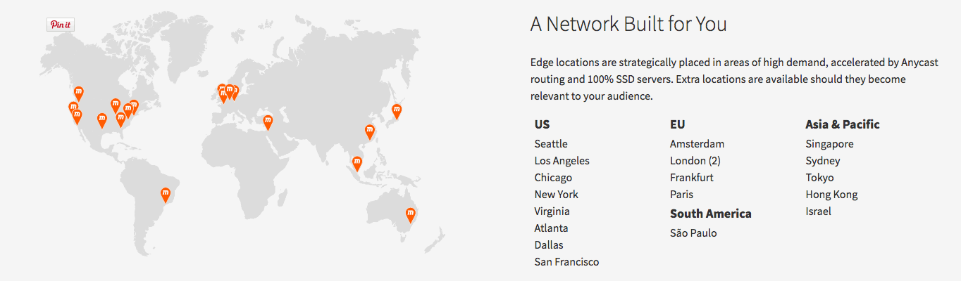 MaxCDN, a popular CDN, has 19 servers in 18 cities around the world.