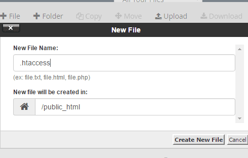 The inline pop-up in cPanel to create a new file.