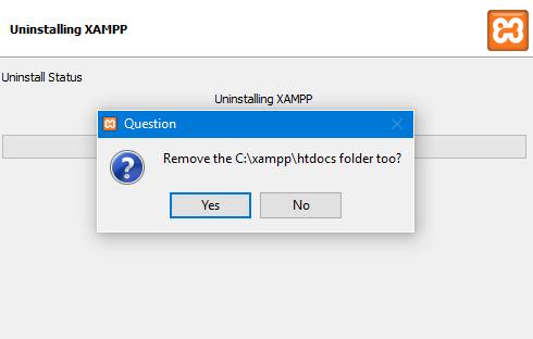 screenshot of xampp prompt to remove htdocs duringuninstall