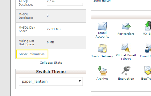 "The cPanel homepage with the ""server Information"" link above the ""Switch Theme"" section on the left."