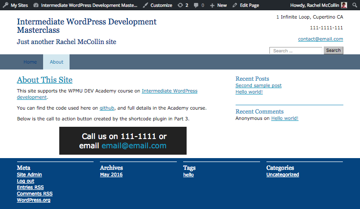 the call to action box in the front-end of our site