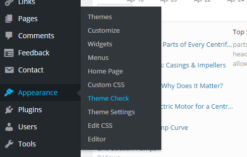 to use Theme Check go to Appearance and then Theme Check