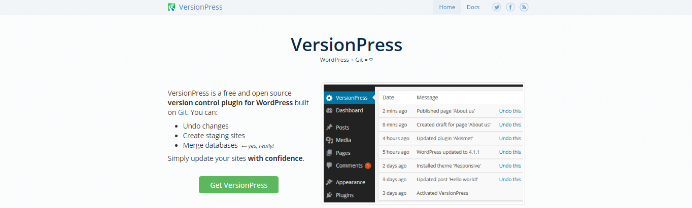 screenshot of the versionpress website
