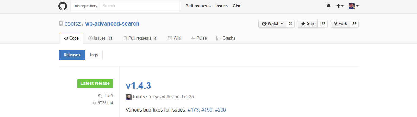 The WP Advanced Search Github page.
