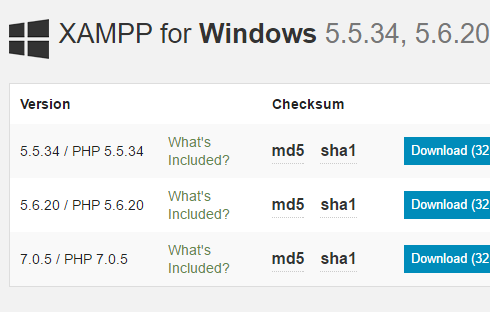 current version of xampp available at apache friends
