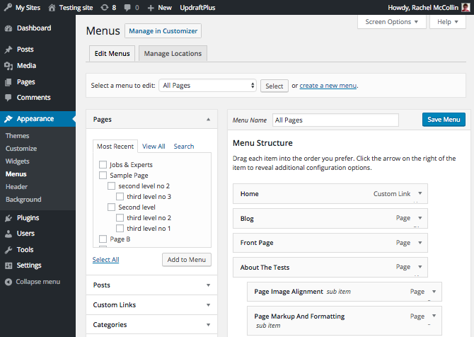 WordPress menus admin screen