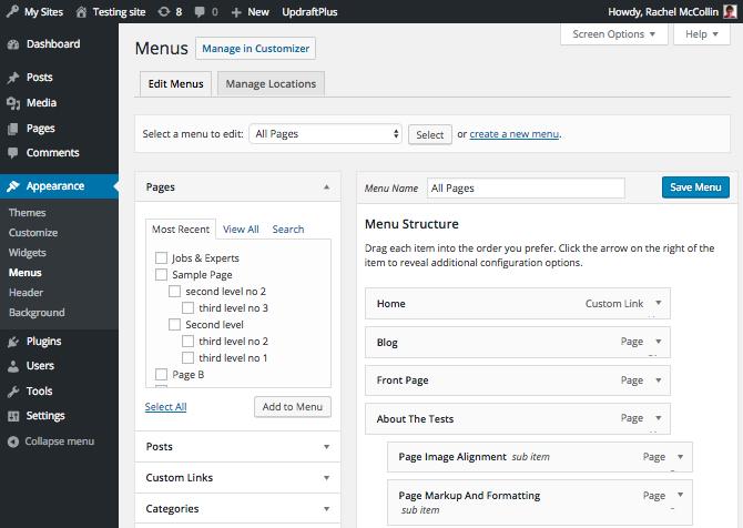 WordPress menus admin screen