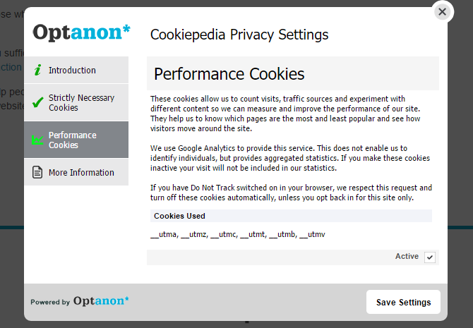 screenshot of over-the-top cookie consent notice at cookiepedia
