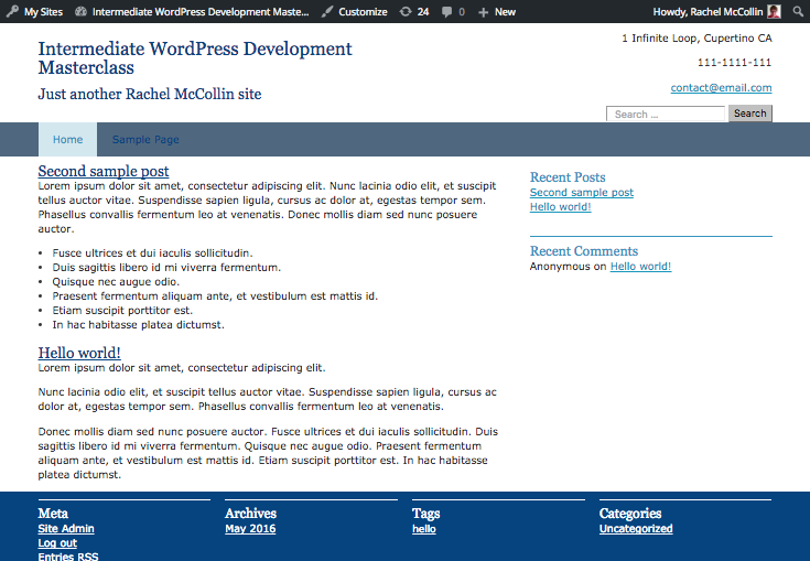 a more tasteful color scheme (shades of blue and gray) on the front end of the site