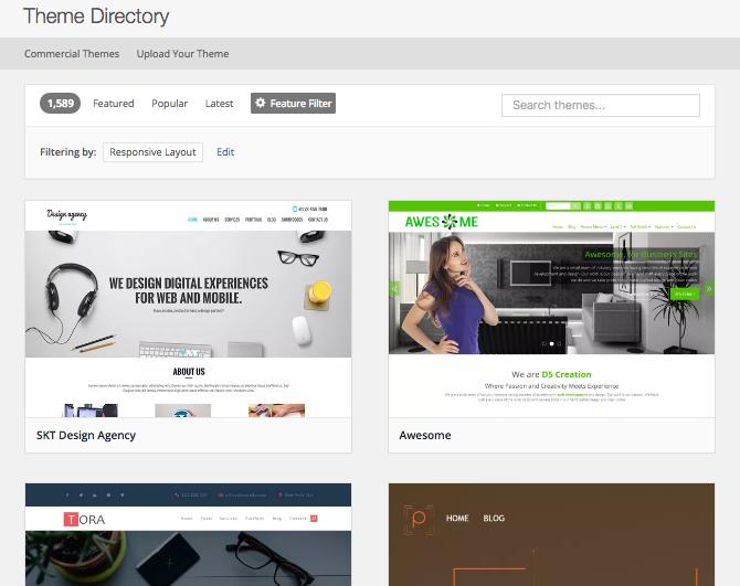 WordPress theme directory - responsive themes