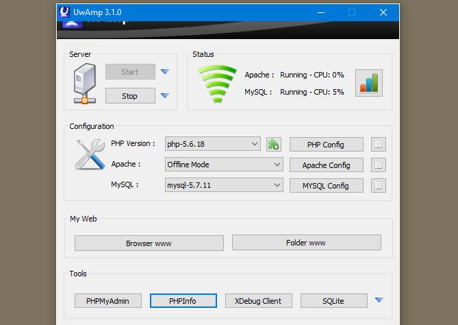 screenshot of uwamp control panel