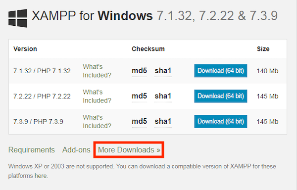 select more downloads from xampp website