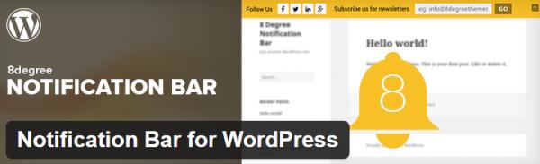 8Degree Notification Bar for WordPress plugin screenshot