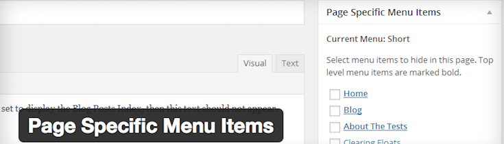 Page Specific Menu Items plugin