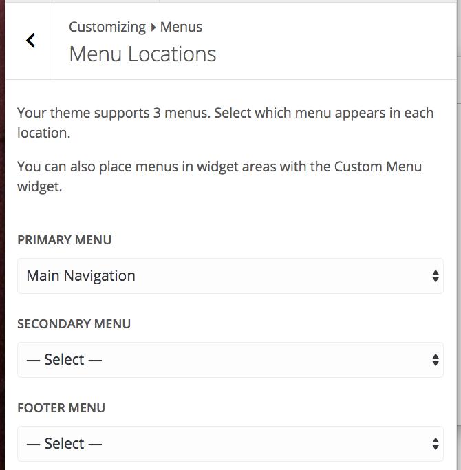 "The Menu Locations option in ""Menus"""