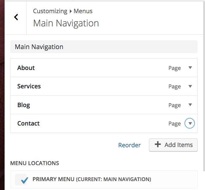"""The Main Navigation menu in """"Menus"""""""