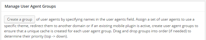 screenshot of agent groups menu options in w3tc