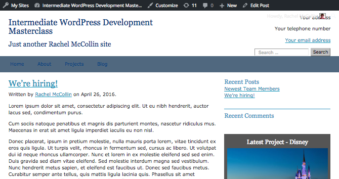 The author's name displayed below the post title with a link to the author archive page