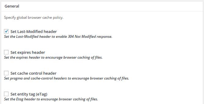 screenshot of general section of browser menu in w3tc