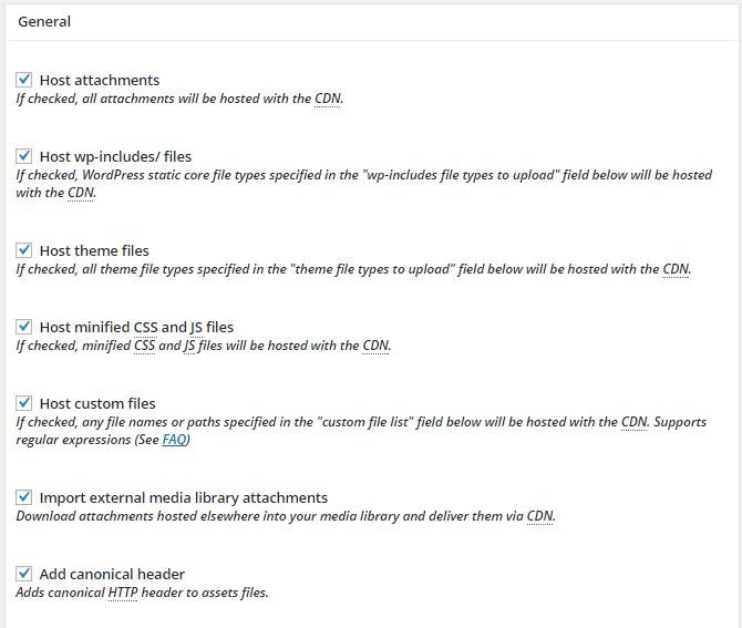 screenshot of general cdn settings in cdn menu in w3tc