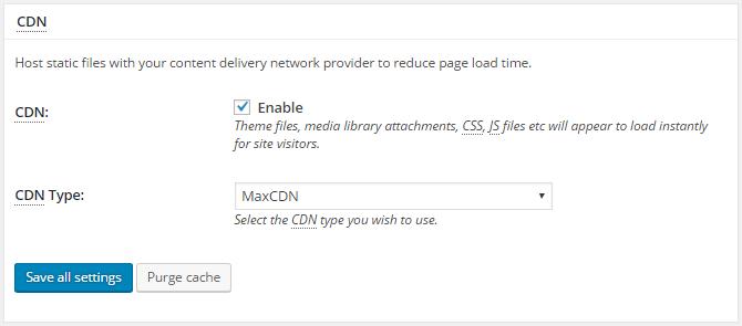 screenshot of cdn section of general settings menu in w3tc