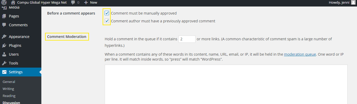 The Discussion settings page.