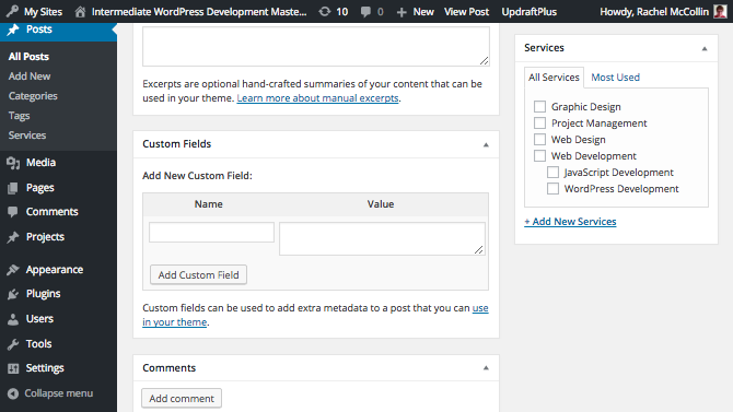A post with no metadata added - editing screen