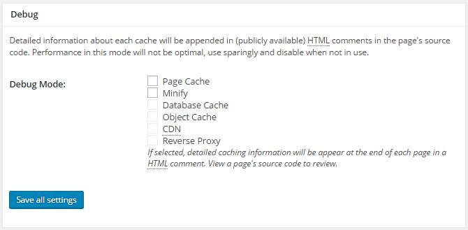 screenshot of debug section of general settings menu in w3tc