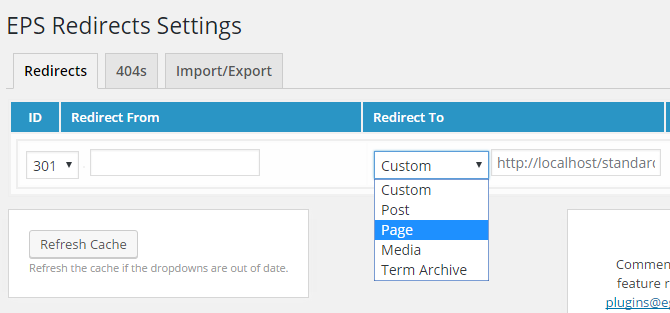 eps plugin drop down menu