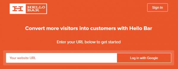 Hello Bar website screenshot