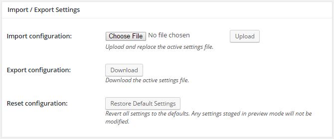 screenshot of import and export section of general settings menu in w3tc
