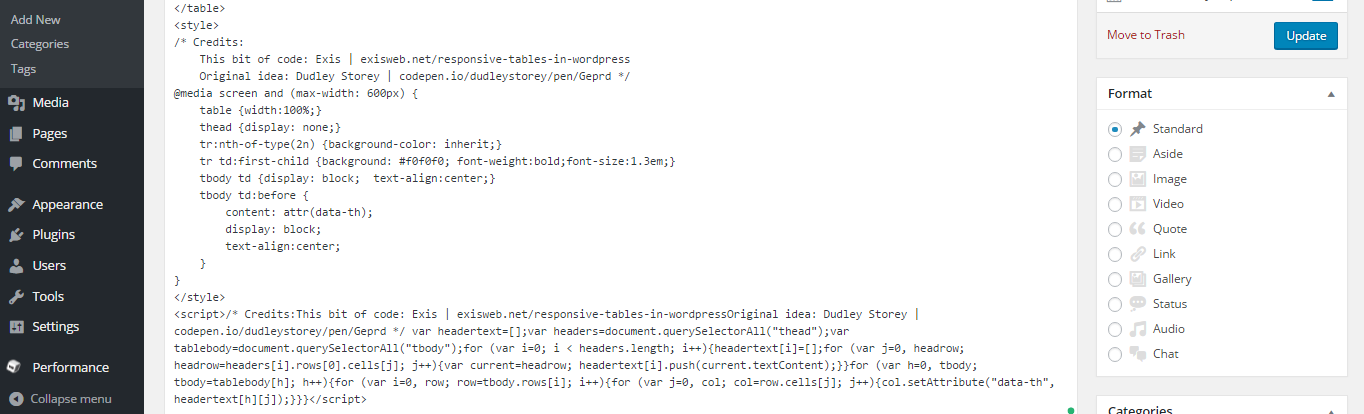 screenshot of wordpress post editor with css and minified javascript added to end of post.