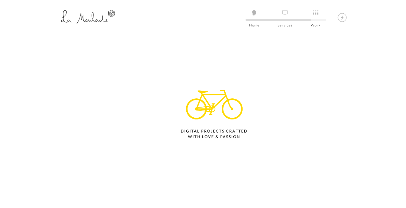 Creative studio La Moulade's website is minimalist with lots of fun interactive touches.