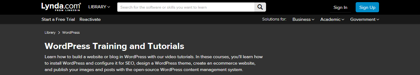 lynda.com website screenshot