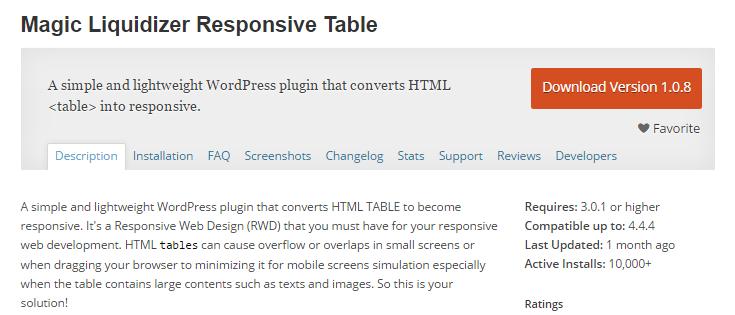 screenshot of magic liquidizer responsive table plugin from wp.org