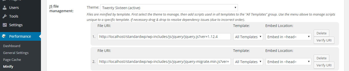 screenshot of javascript files in js section of minify menu in w3tc