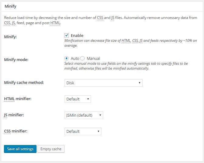 screenshot of minify section in general settings menu in w3tc