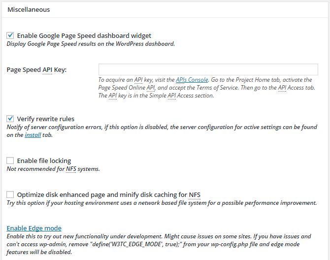 screenshot of miscellaneous section of general settings menu in w3tc
