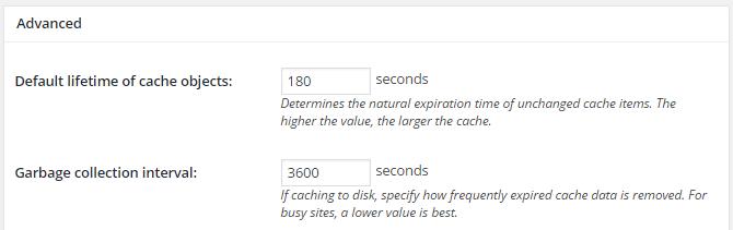 screenshot of advanced section of object menu in w3tc