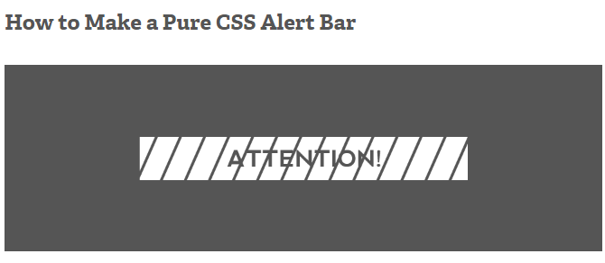 screenshot from tutorial on making your own css alert bar