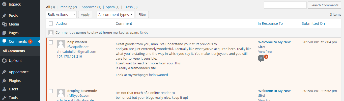 A spam comment reported in the WordPress dashboard.