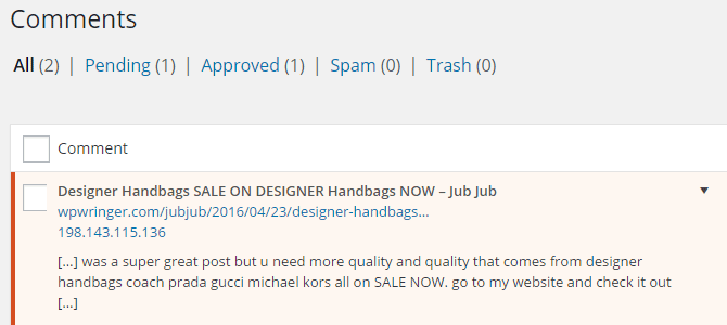 A sample trackback for comment moderation.